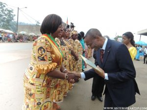 The Governor of the NWR , congratulates Hon Esther Ngala . The North West Region currently has four women parliamentarians out of the twenty for the region compared to only one elected in 2007. The improvement from 5% to 20% women is significant although it falls short of the 30% voluntary quota set by the major political parties. Photo Credit - Comfort Mussa
