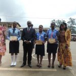 Essay contest winners pose with Governor Lele L'Afrique Adolph of the NW region of Cameroon and representatives of Gender Danger