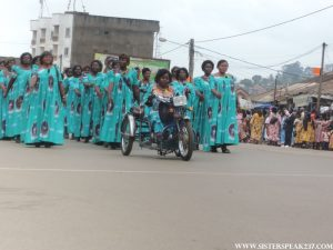 Women of the Bamenda 2 Council led in their  parade by Councillor  Limen Florence