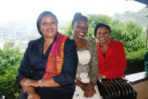 L-R: Mme Emilia Chindo,Comfort Mussa and Justice Florence Awasom IVLP Alumni & facilitators at the luncheon discussion