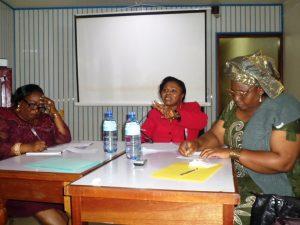 L-R Dr. Focho Gladys ( University of Bamenda),  Justice Florence Awasom (V.P. Administrative Court) Mrs Fon Susan N.T (Regional Delegate, Basic Education)